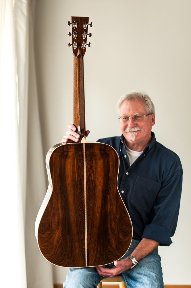 Preston Thompson with a Brazilian Rosewood OM Guitar