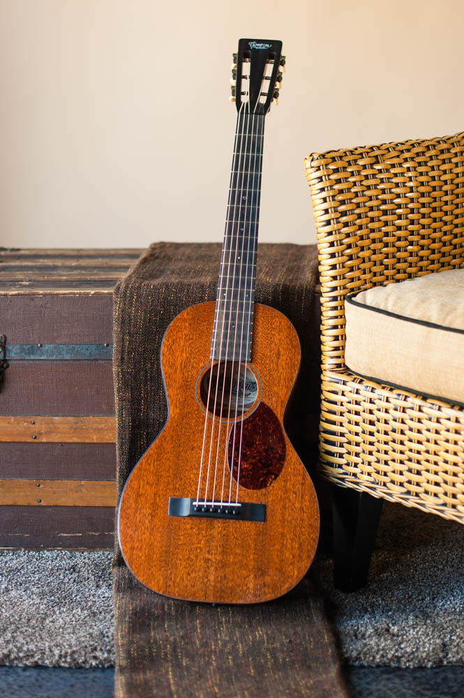 An all mahogany Size 2 Parlor acoustic guitar handmade by Thompson Guitars.