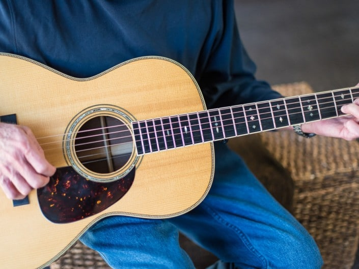 Preston Thompson's personal 12 Fret 00 acoustic guitar. Close up