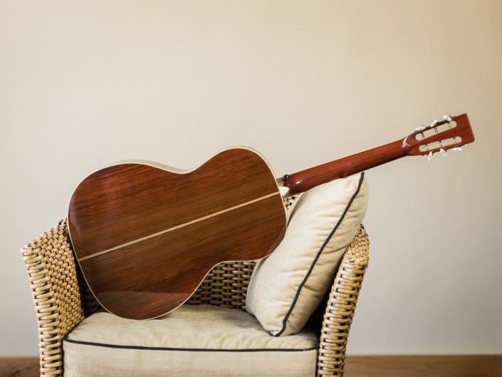 Preston Thompson's personal 12 Fret 00 acoustic guitar. Full guitar back