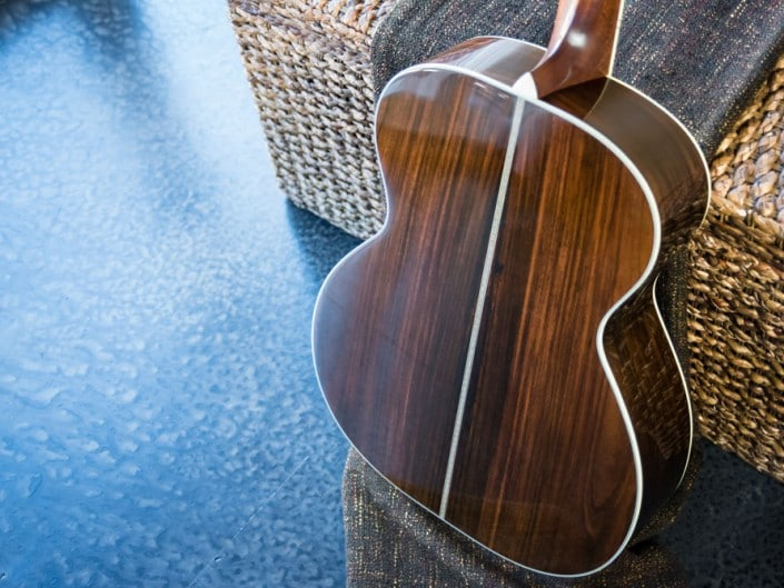 Preston Thompson Acoustic Guitars Brazilian Rosewood 14 Fret 000 acoustic guitar with custom abalone inlays. Back detail