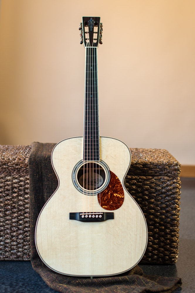Preston Thompson Acoustic Guitars Brazilian Rosewood 14 Fret 000 acoustic guitar with custom abalone inlays. Full body