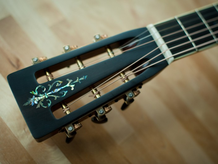 Preston Thompson Lutz spruce with Brazilian Rosewood Size 2 Parlor acoustic guitar Headstock