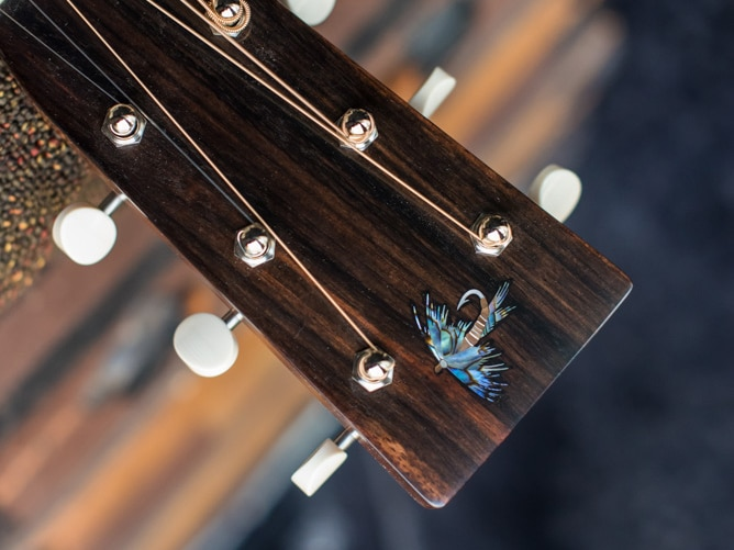 Preston Thompson ustom Size 2 Parlor handmade with Port Orford Cedar and Oregon Myrtlewood acoustic guitar 5 headstock