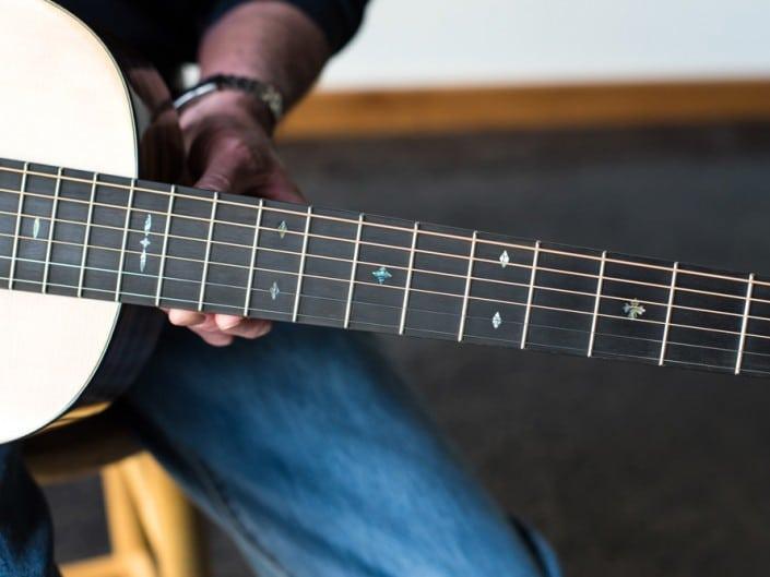 Preston Thompson ustom Size 2 Parlor handmade with Port Orford Cedar and Oregon Myrtlewood acoustic guitar 8