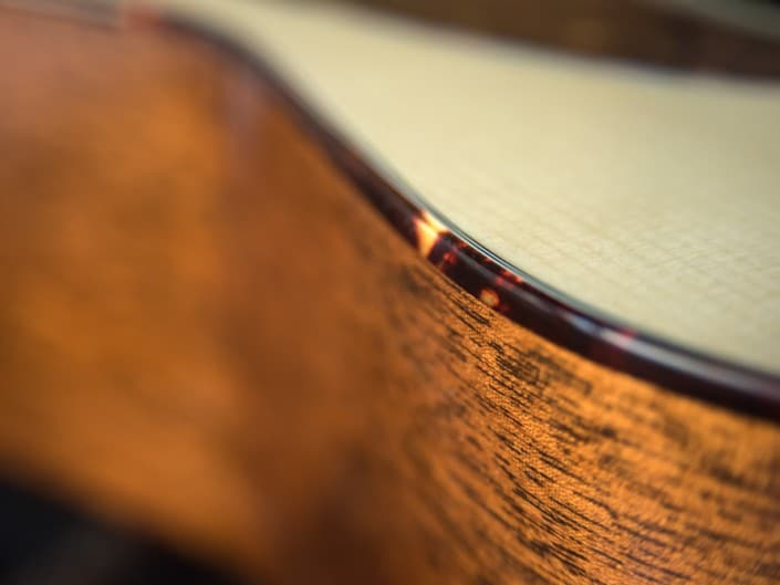 Acoustic dreadnought guitar handcrafted of mahogany back and sides with an adirondack top. 13
