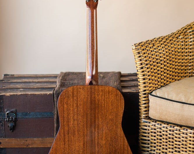 Preston Thompson plays Acoustic dreadnought guitar handcrafted of mahogany back and sides with an adirondack top. Back