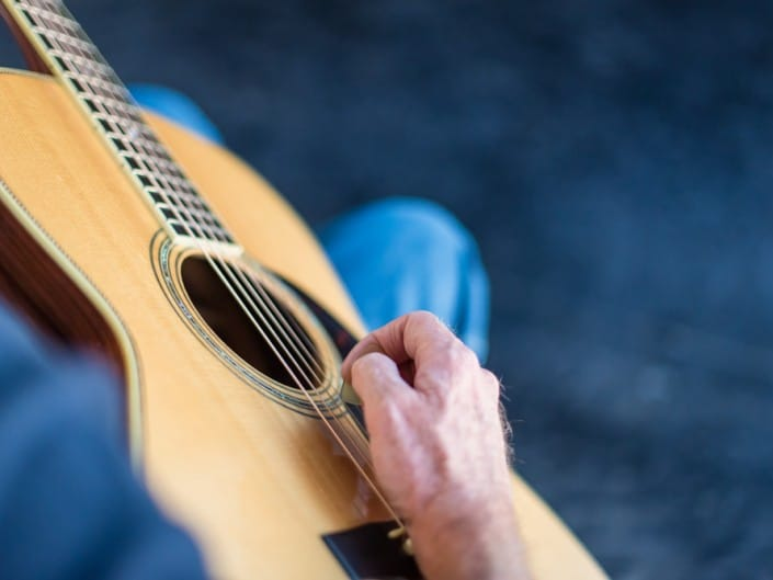Preston Thompson's personal 12 Fret 00 acoustic guitar. Close 2