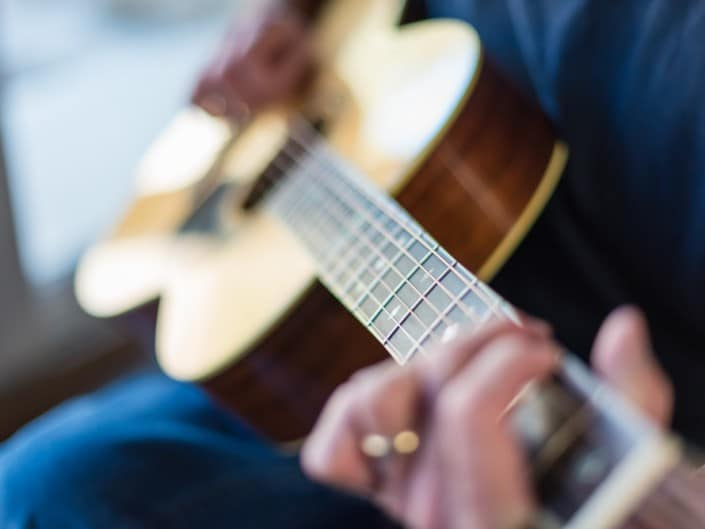 Preston Thompson's personal 12 Fret 00 acoustic guitar. Close 3