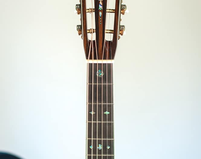 12 Fret 000 acoustic guitar handcrafted from Adirondack Spruce and Brazilian Rosewood. Full Neck