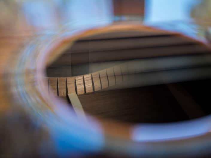 12 Fret 000 acoustic guitar handcrafted from Adirondack Spruce and Brazilian Rosewood.Sound Hole