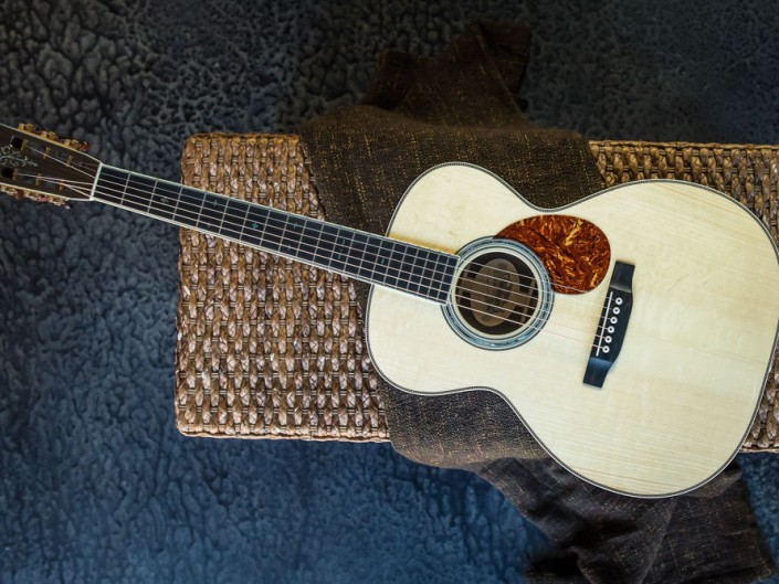 Preston Thompson Acoustic Guitars Brazilian Rosewood 14 Fret 000 acoustic guitar with custom abalone inlays. Top View